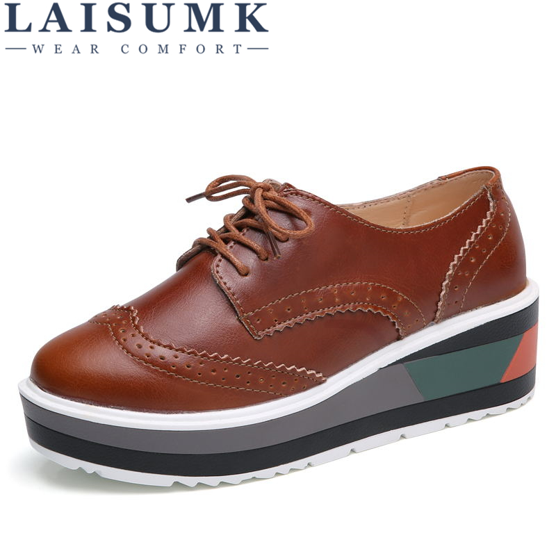 LAISUMK Autumn Women Sneakers Shoes Platform Flats Brogue Genuine Leather Lace Up with wheels creepers Moccasins