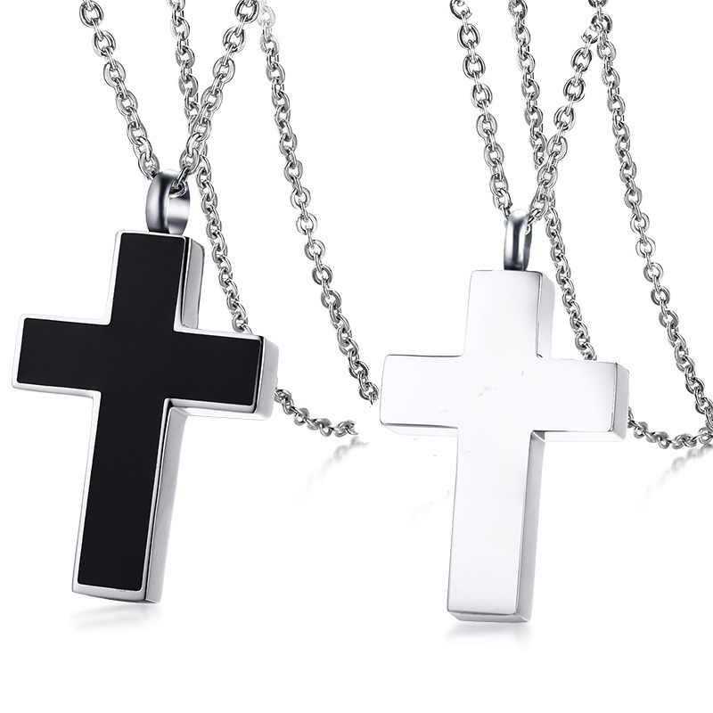 Vnox крест кулон ожерелье для женщин мужчин ювелирные изделия классический из нержавеющей стали можно открыть любовник обещания ожерелье
