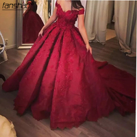 Burgundy Princess Ball Gown Quinceanera Dress 2019 Sweet 16 Dresses Beaded Sequins Lace Up Gowns Plus Size Puff Vestidos De 15