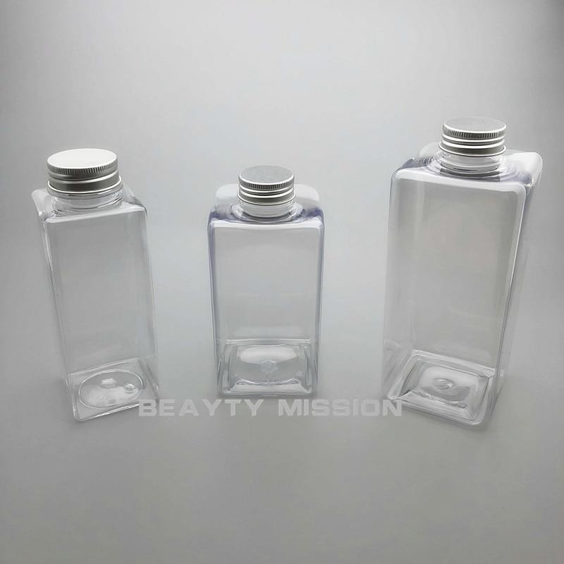 Transparent 350ml/450ml/650ml 10 Pcs/lot Empty Square Juice Water Bottle, Aluminum Cap PET Thickening Refillable Bottles