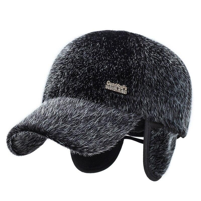 Gorra de béisbol con orejeras de piel de invierno y otoño para hombre
