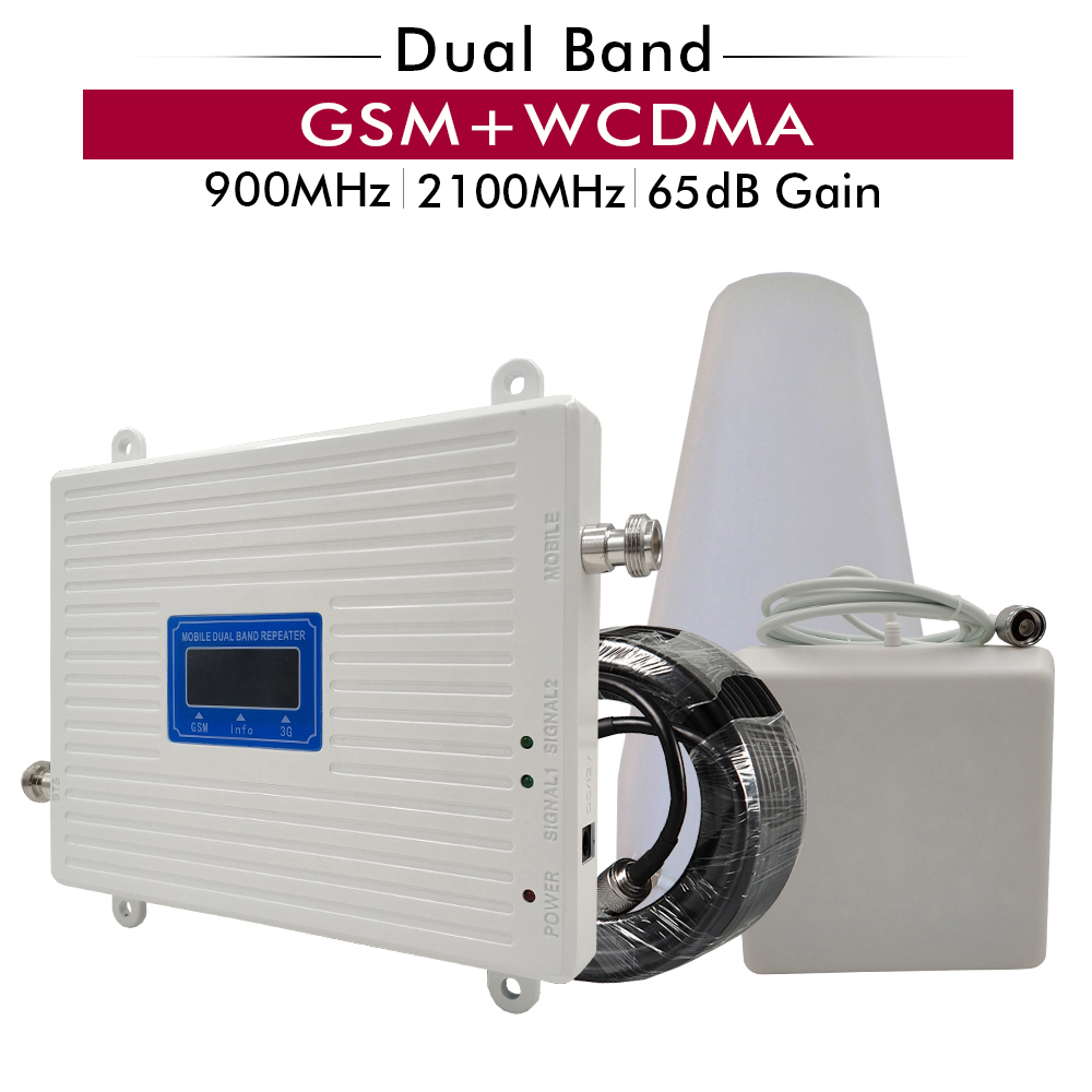 65dB Gain GSM 900 WCDMA 2100 Cellular Mobile Signal Booster Amplifier LPDA Panel Antenna 15M Cable 2G 3G Dual Band Repeater Set