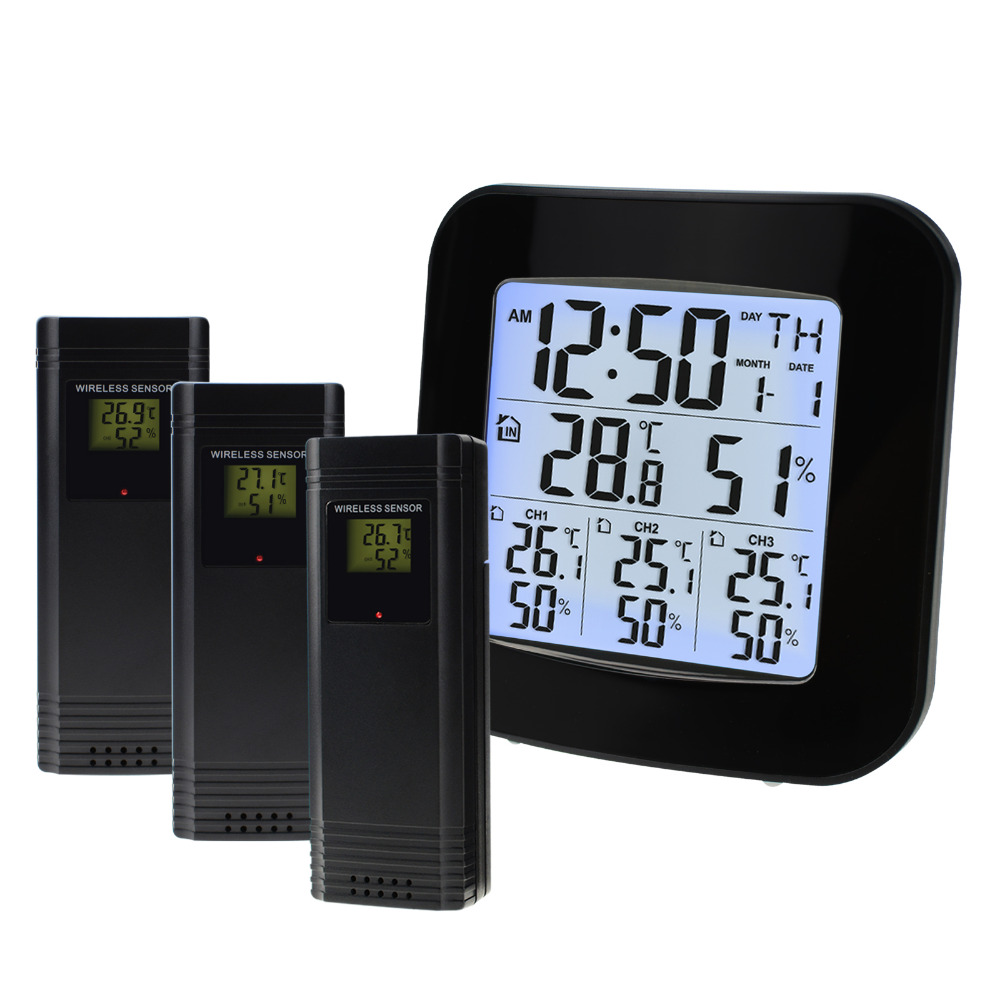 Digital Thermometer and Hygrometer with 3 Indoor/ Outdoor Wireless Sensors for Black LED on LCD Display with Alarm Clock 1 9 mini digital lcd indoor outdoor thermometer with clock 50 70 c 1 lr44