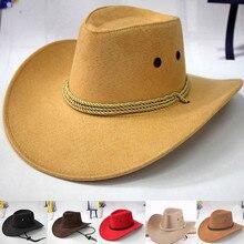 Мужская Ковбойская шляпа с козырьком в западном стиле, ковбойская шляпа в западном стиле, мужская шапка для верховой езды, модный аксессуар с широкими полями, крушаемый гофрированный подарок