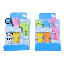 10pcs/pack Animal Farm Fruit Fork Mini Cartoon Children Snack Cake Dessert Food Fruit Pick Toothpick Bento Lunches Party Decor(China)