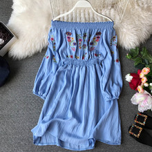 NiceMix Sexy Off Shoulder Embroidery Dress Women Tunic Shirt Dress Female Vintage High Waist Mini Short Dress Spring Long Sleeve embroidery flounce sleeve tunic dress