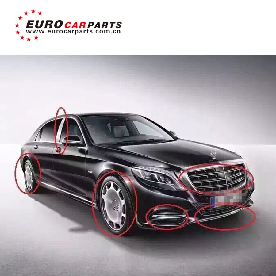 S class w222 MAY-BACH emblem muffler tips body kit for s450 s500 s560 s600 to S63 S65 may- bach logo sticker emblem