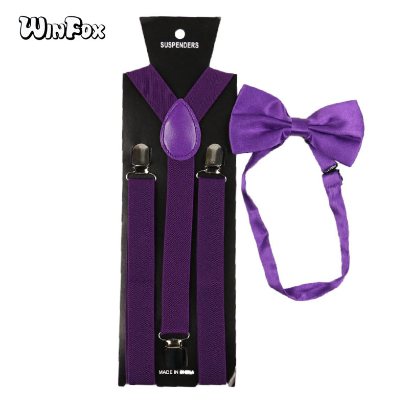 Winfox Fashion Purple Man's Suspenders Bowtie Set Men Women Elastic Braces Bow Tie