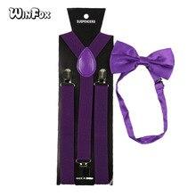 Winfox Fashion Purple Mans Suspenders Bowtie Set Men Women Elastic Braces Bow Tie