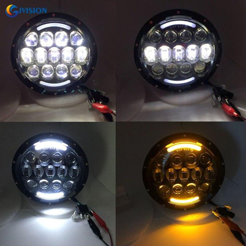 7 inch ronde led koplamp 105 W rgb kleur knipperende rijden licht H4 6000 K voor jeep wrangler JK LandRover offroad 4x4 koplamp - 6