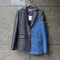 LANMREM 2019 new autumn and winter fashion women jacket real pictures hot sales denim wool patchwork short jacket WG85405L
