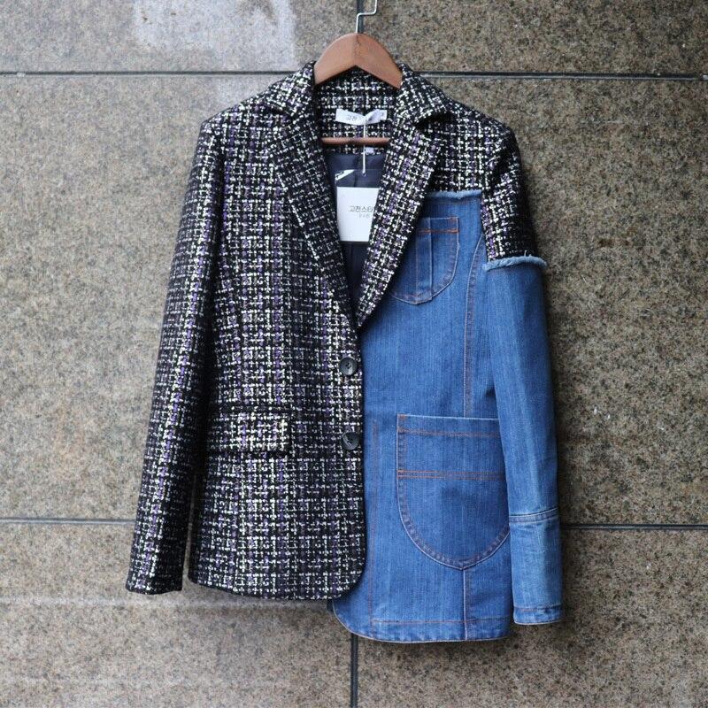 LANMREM 2019 nouveau automne et hiver mode femmes veste vraies photos offres spéciales denim laine patchwork veste courte WG85405L