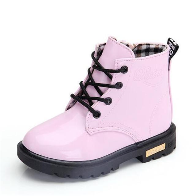 Children Shoes Winter Warm Fur PU Leather Waterproof Children Martin Boots Brand Boy Kids Rubber Boots Baby Girls Snow Boots