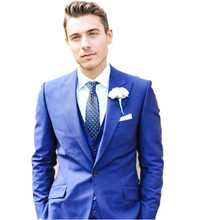 New Custom Made Handmade Blue three Piece Men Slim Fits Suits Tuxedos Grooms Suit Men's Wedding Suits Formal Party Suits