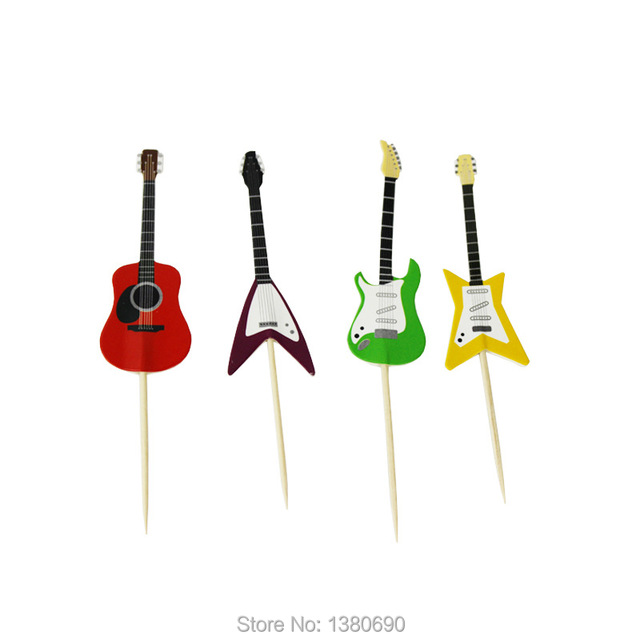 24pcs Figure Guitar Theme Happy Birthday Flag with Paper Straw