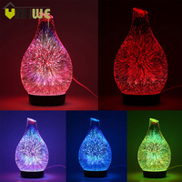 100ml Glass Aromatherapy Humidifier Aroma Essential Oil Diffuser Ultrasonic Humidifier with 7 color LED Light for Home Office