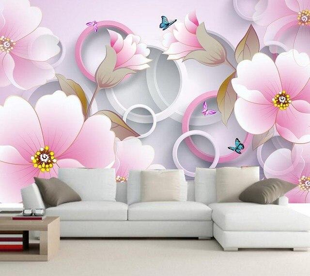 3d Murals,Stereo Fantasy Pink Rose 3d Wallpaper,hotel Room