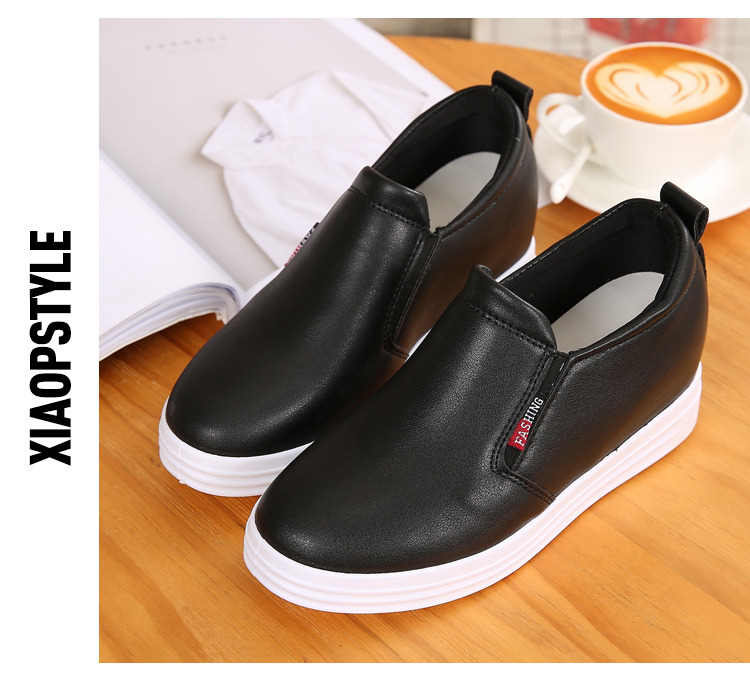 Wedge Leather Casual Shoes Woman Platform Shoes 2017 Spring New Simple Height Increasing Women Shoes Round Toe Ladies Shoes ZD48 (20)