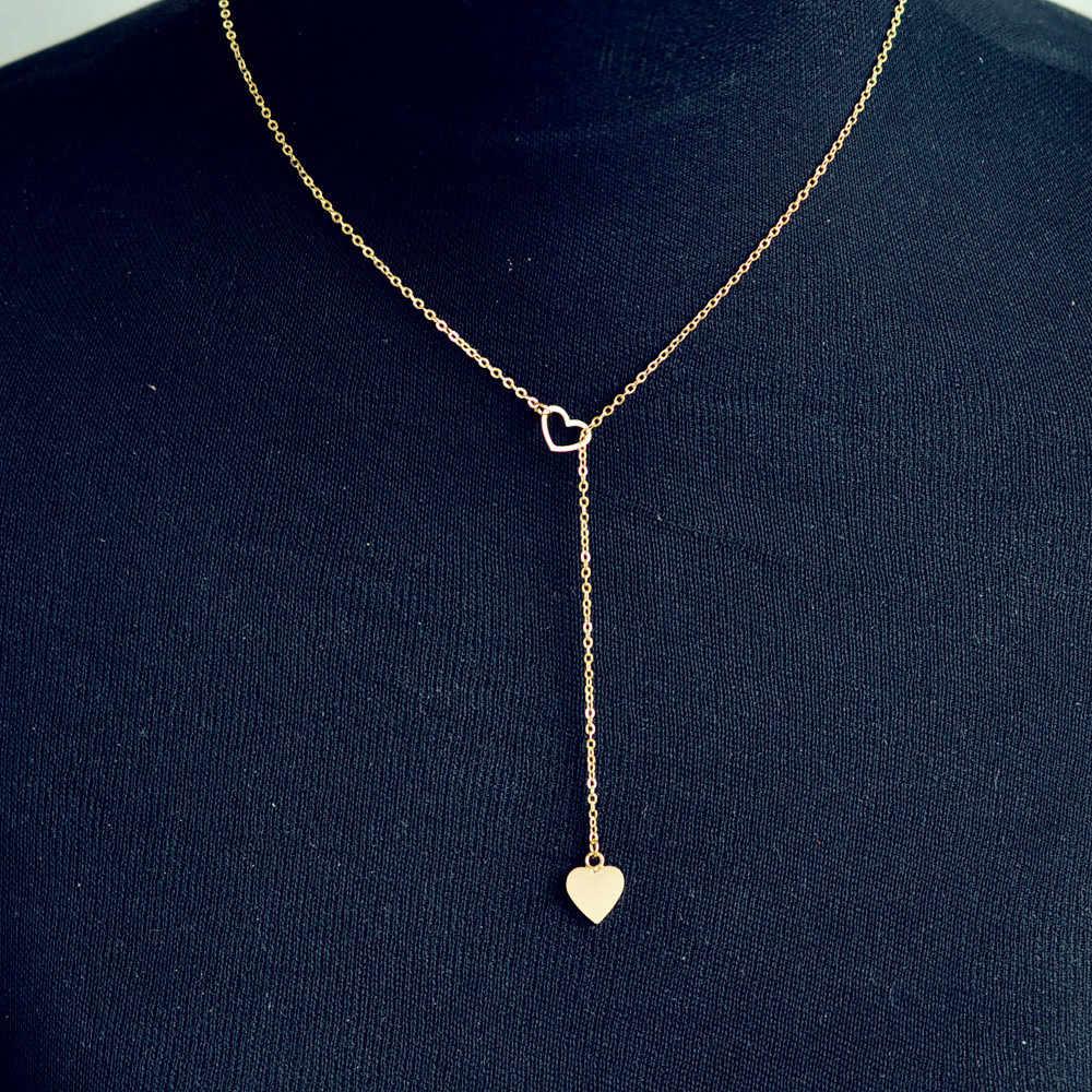 Stylowy dziki naszyjnik luksusowe długi wisiorek naszyjnik popularne ze stali nierdzewnej łańcuszek z serduszkiem piękno wysokiej jakości SL GD L0326