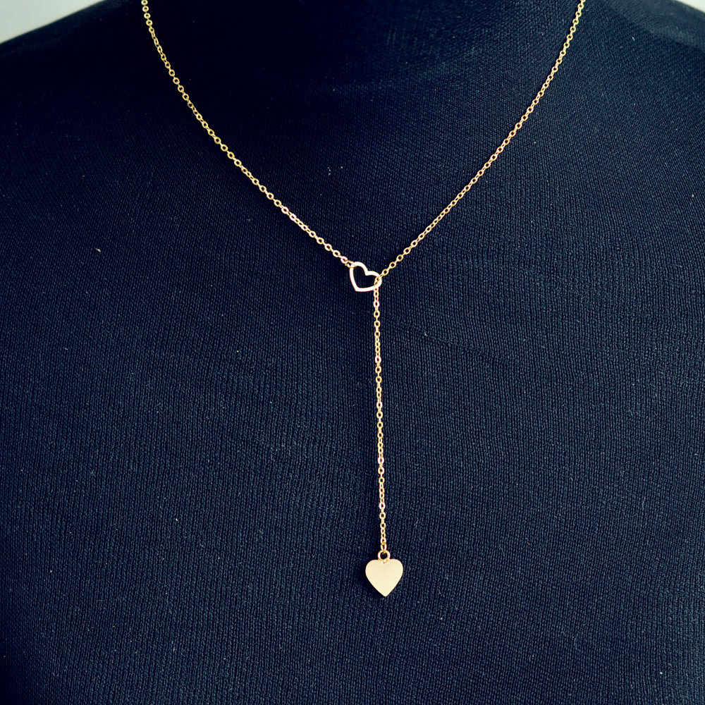 Stylowy dziki naszyjnik luksusowy długi naszyjnik popularny łańcuszek z serduszkiem ze stali nierdzewnej piękno wysokiej jakości SL GD L0326
