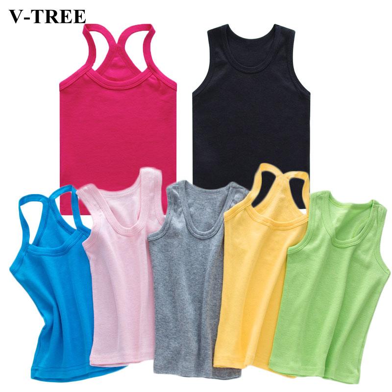 V-TREE Girls T Shirt Children Spring Summer T Shirts Girls Candy Color T-shirts  Cotton Vest Top Summer Children Clothes
