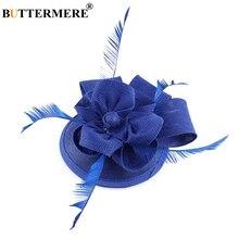 BUTTERMERE Hat Women Fedora Linen Dark Blue Wedding With Feather Ladies Elegant Bride Pillbox Party Hats Female Church