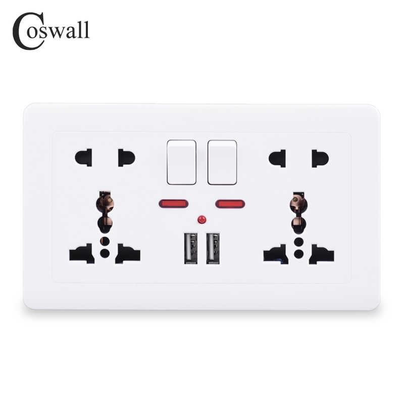 Coswall prise de courant murale Double universel 5 trous prise de courant 2.1A Double Port de chargeur USB indicateur LED 146mm * 86mm