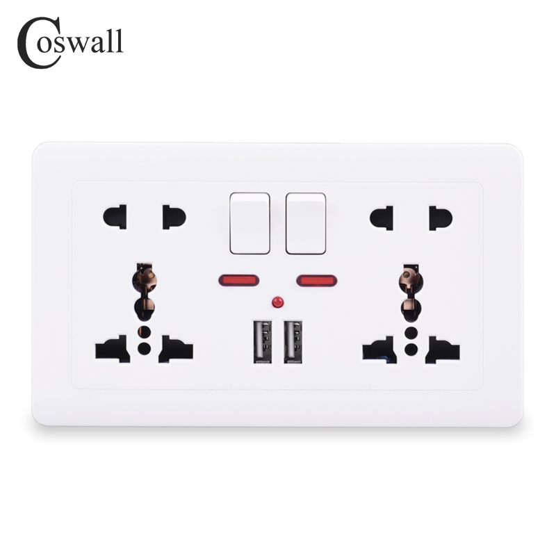 Coswall Wall Power Socket Double Universal 5 Hole Switched Outlet 2.1A Dual USB Charger Port LED Indicator 146mm*86mm