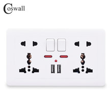 Coswall Dinding Power Socket Double Universal 5 Lubang Beralih Outlet 2.1A Dual USB Charger Port Indikator LED 146 MM * 86 Mm()