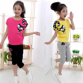 Girl Short Sleeve + Casual Pants Kids Clothing Suits Cartoon Print Children Sets for Girl Sports Set 4-14 Ages Teensch Clothing - DISCOUNT ITEM  25% OFF All Category