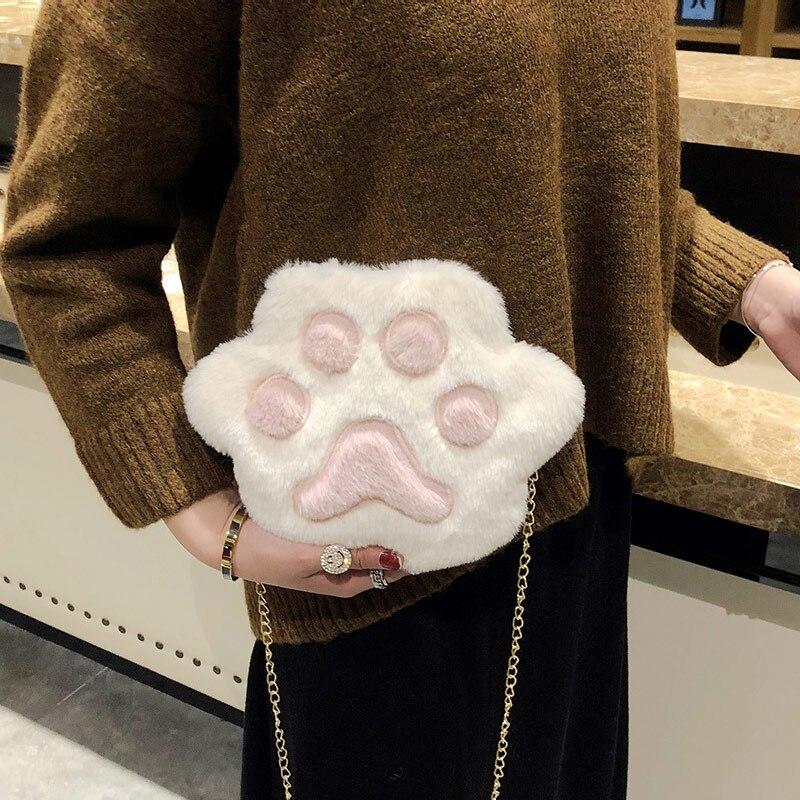 1 Pcs Cute Plush Shoulder Crossbody Bags for women Fashional Cat Paw Mobile Durable Phone Mini Bag for Teenage Girls