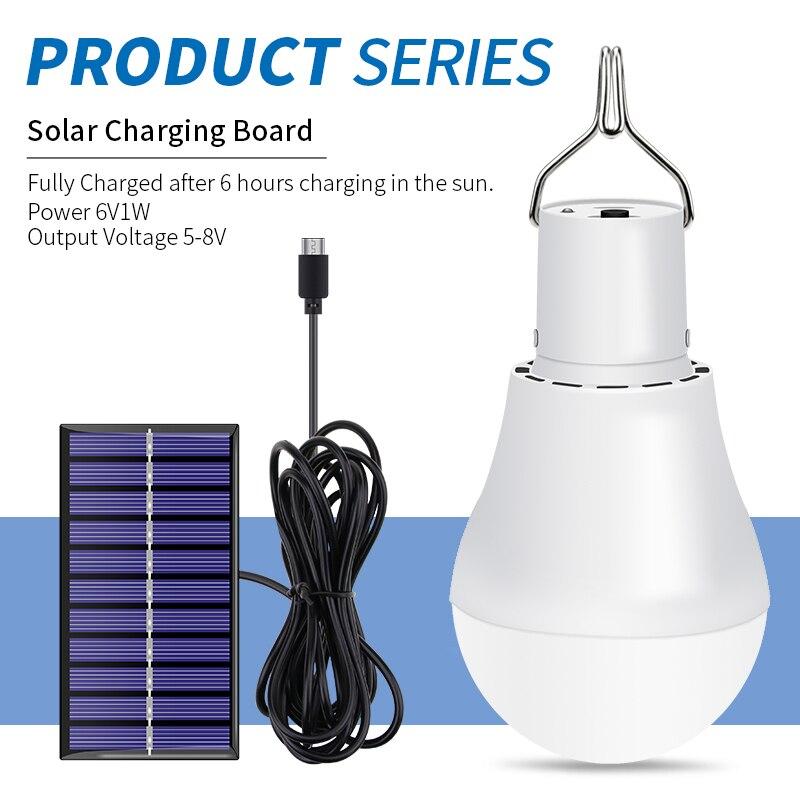 Solar Lamp Portable LED Bulb 15W 250LM Solar Light 5V 8V Outdoor Lighting USB Rechargeable Fishing Camping Light Solar Lantern in Solar Lamps from Lights Lighting