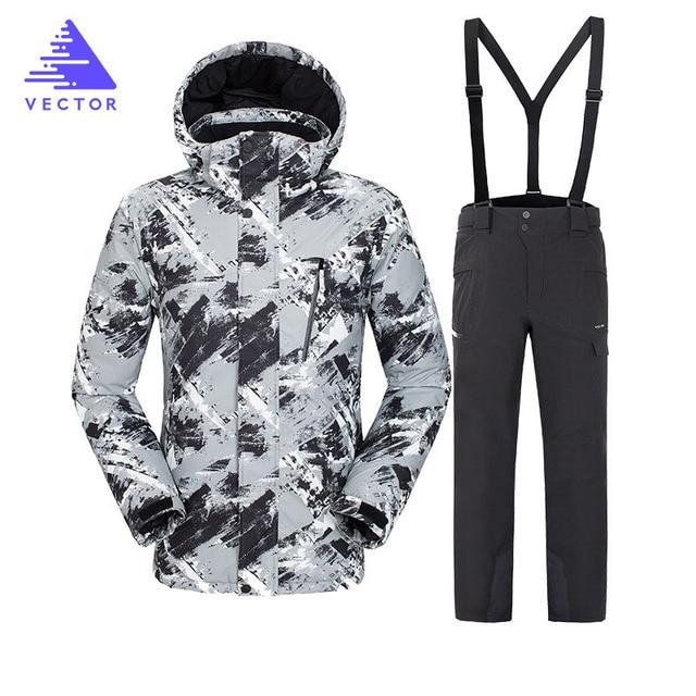 Вектор теплый зимний лыжный костюм набор мужской ветрозащитный водонепроницаемый лыжный костюм для сноубординга набор мужской лыжный костюм + брюки бренд