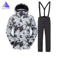 VECTOR Warm Winter Ski Suit Set Men Windproof Waterproof Skiing Snowboarding Suits Set Male Outdoor Ski jacket + Pants Brand