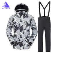 VECTOR de invierno cálido traje de esquí traje de hombres a prueba de viento impermeable esquí snowboard trajes de hombre al aire libre chaqueta de esquí + Pantalones marca