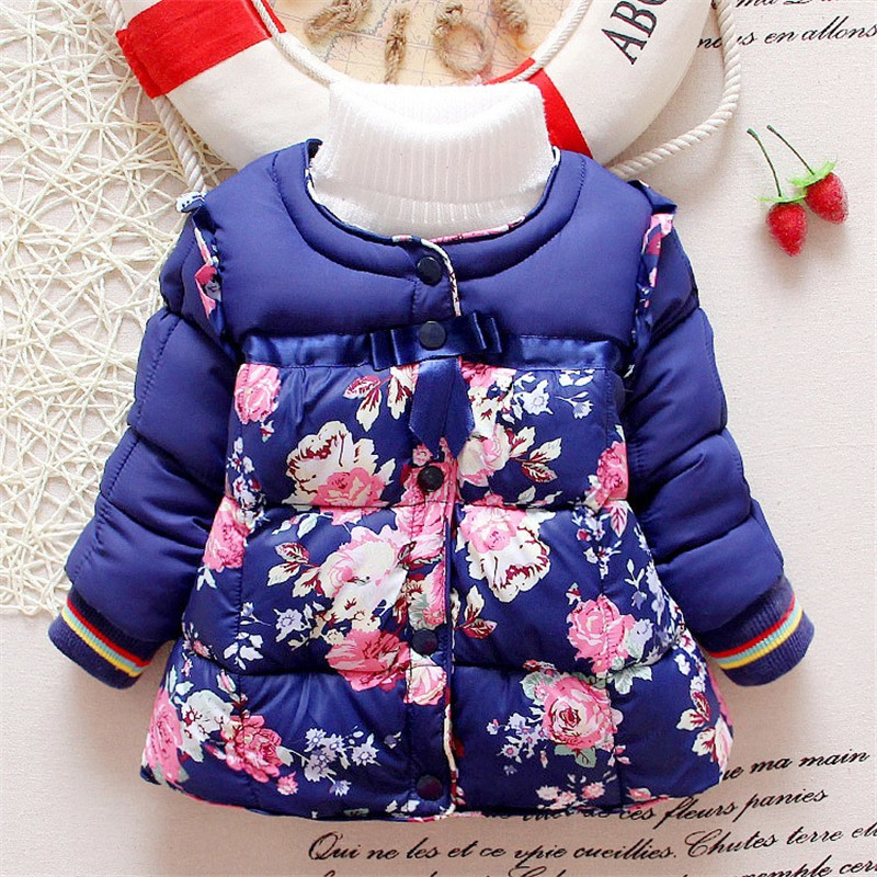 BibiCola New Cute Winter Kid Baby Girl Floral Stand Collar Long Sleeve Coat Outerwear fashion parkas child clothes