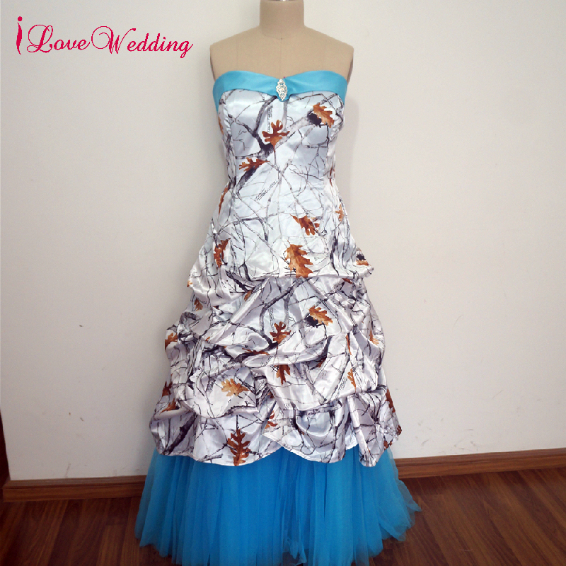 Camouflage Wedding Gowns: ILoveWedding New Camouflage Wedding Dress A Line Blue