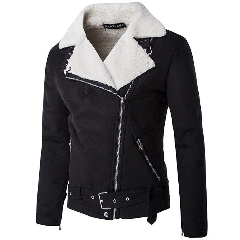 Classic Faux Fur Motorcycle Jacket Men/Women Veste Cuir Homme 2016 Winter Fashion Black White Slim Fit Bomber Jackets Xxl