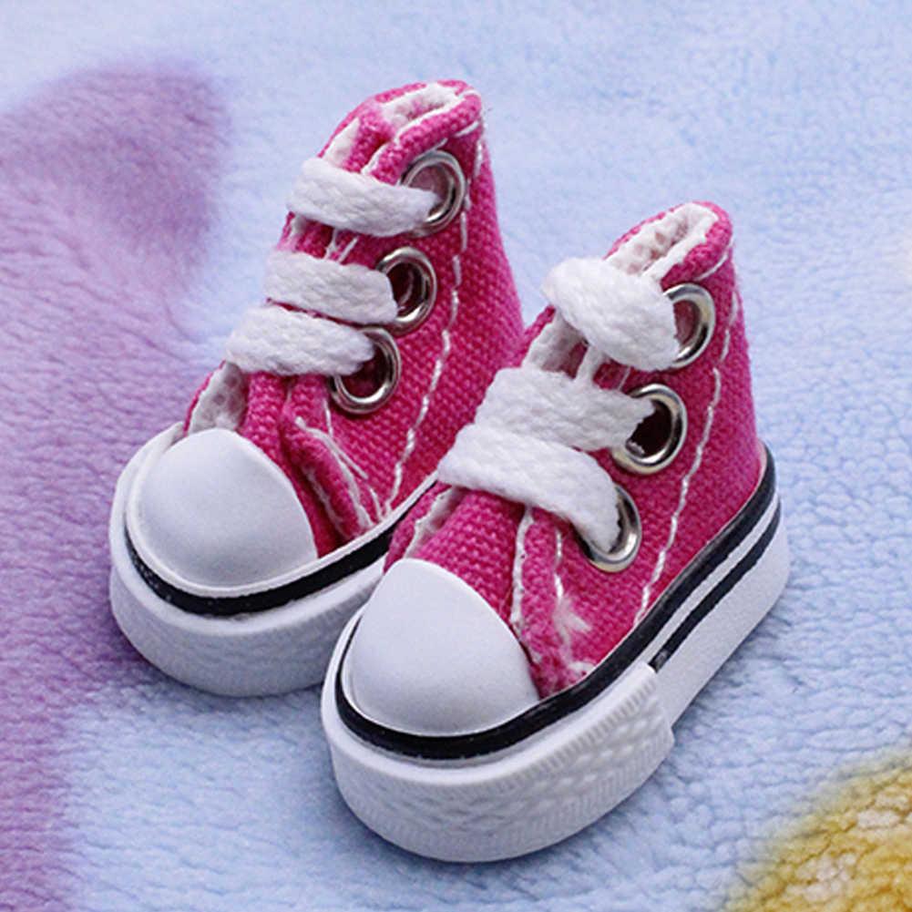 1 пара, на шнуровке, детские модные Мини Подарочные игрушки, аксессуары, холст, ручная работа, для девочек и мальчиков, игрушечные кроссовки, сделай сам, кукольная обувь