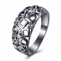 Vintage Promise Ring Purple Cz Inlay Cutout Black Gold Engagement Ring For Anniversary