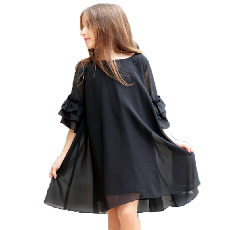 New 2018 Big Size Girls Dress Summer Petal Sleeve Chiffon Kids Girls Dress Teenager Girls Vestidos Black Girl Dress 6 - 16 years