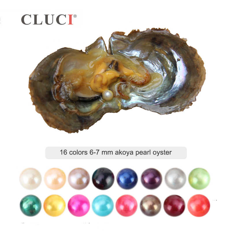 CLUCI Round Black White 6-7mm Akoya Pearl Bead 16 Colors Vacuum Packed Saltwater Oysters with Pearl