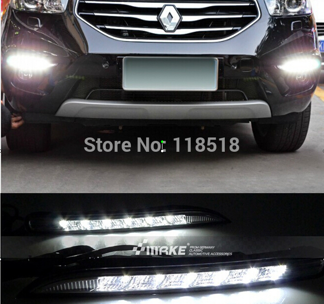 Free shipping , Waterproof 12V Car LED DRL Daytime running lights with Turn off style Relay for Renault Koleos 2012 2013 2014