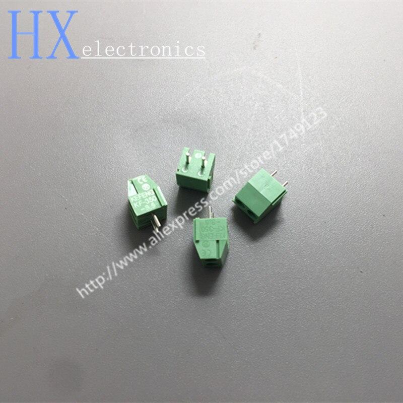 Free shipping 100PCS 3.5mm Pitch Screw Terminal Connector 2 Pin 3 Pin Straight Leg KF350 Copper Green PCB Terminal Blocks