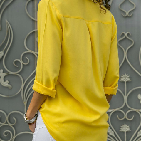 8XL Women Tops Blouses Autumn Elegant Long Sleeve Solid V-Neck Chiffon Blouse Female Work Wear Shirts Office Plus Size 7XL Blusa Lahore