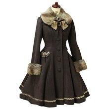 Милое шерстяное пальто в стиле Лолиты с капюшоном; зимнее пальто для девочек; Брендовое длинное зимнее пальто; 3 цвета