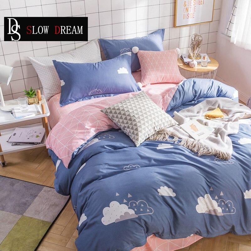 US $11.37 43% OFF|SLOWDREAM Nordic Blue Bedding Set Comforter Cloud Double  Sheets Bedspread Duvet Cover Adult Queen King Bed Linen Set Bedclothes-in  ...