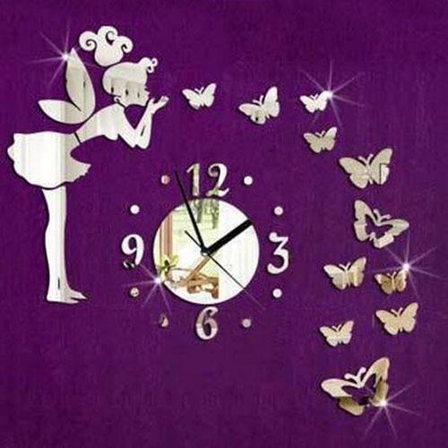 Angel Fairy Butterfly Mirror Decal Wall Clock Room DIY Home Art Vinyl Decor