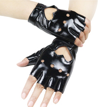 1 Pair Colorful  Women Fashion PU Leather Half Finger Gloves Autumn Winter Solid Cool Heart Hollow Fingerless Gloves цена