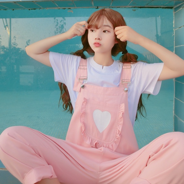 Summer soft sister Japanese girl lovely girl Pink overalls Strap pants in Pants amp Capris from Women 39 s Clothing